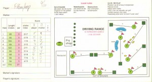Scorekaart Golfclub Amstelborgh. Let op hole 4, 65 meter kort.