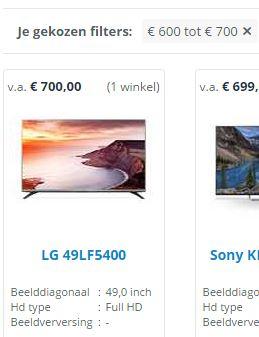 Bij € 600 - € 700 ben je de duurste uit de categorie