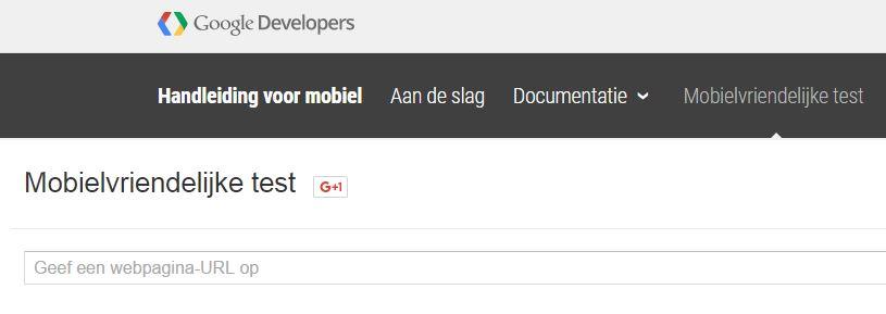 Startscherm Mobielvriendelijke test van Google